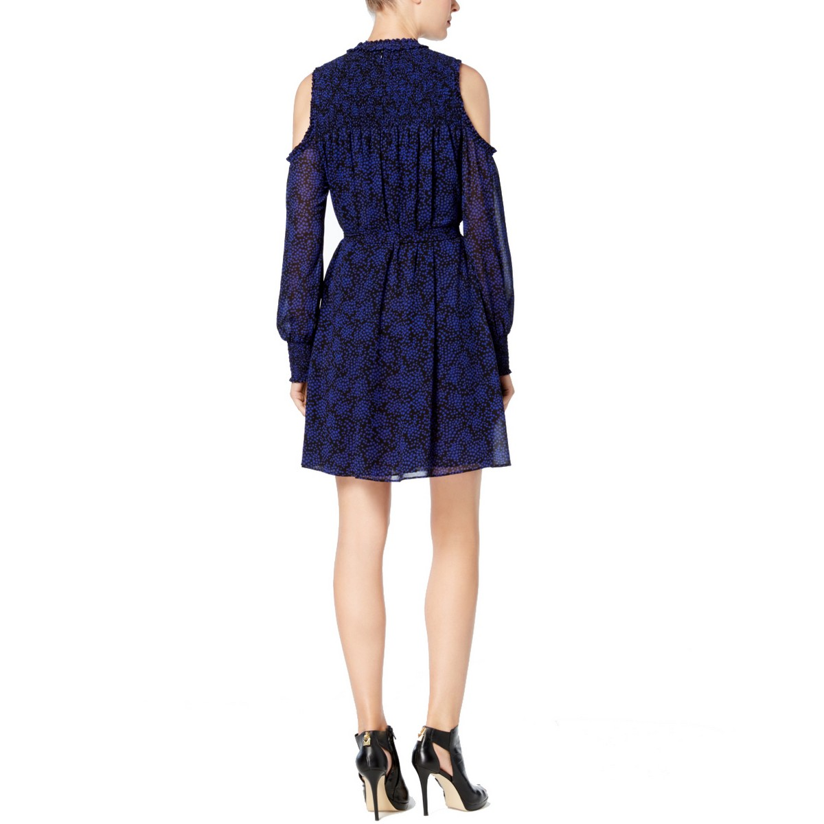 MICHAEL-KORS-Women-039-s-Stars-Print-Smocked-Cold-shoulder-Fit-amp-Flare-Dress-TEDO thumbnail 4