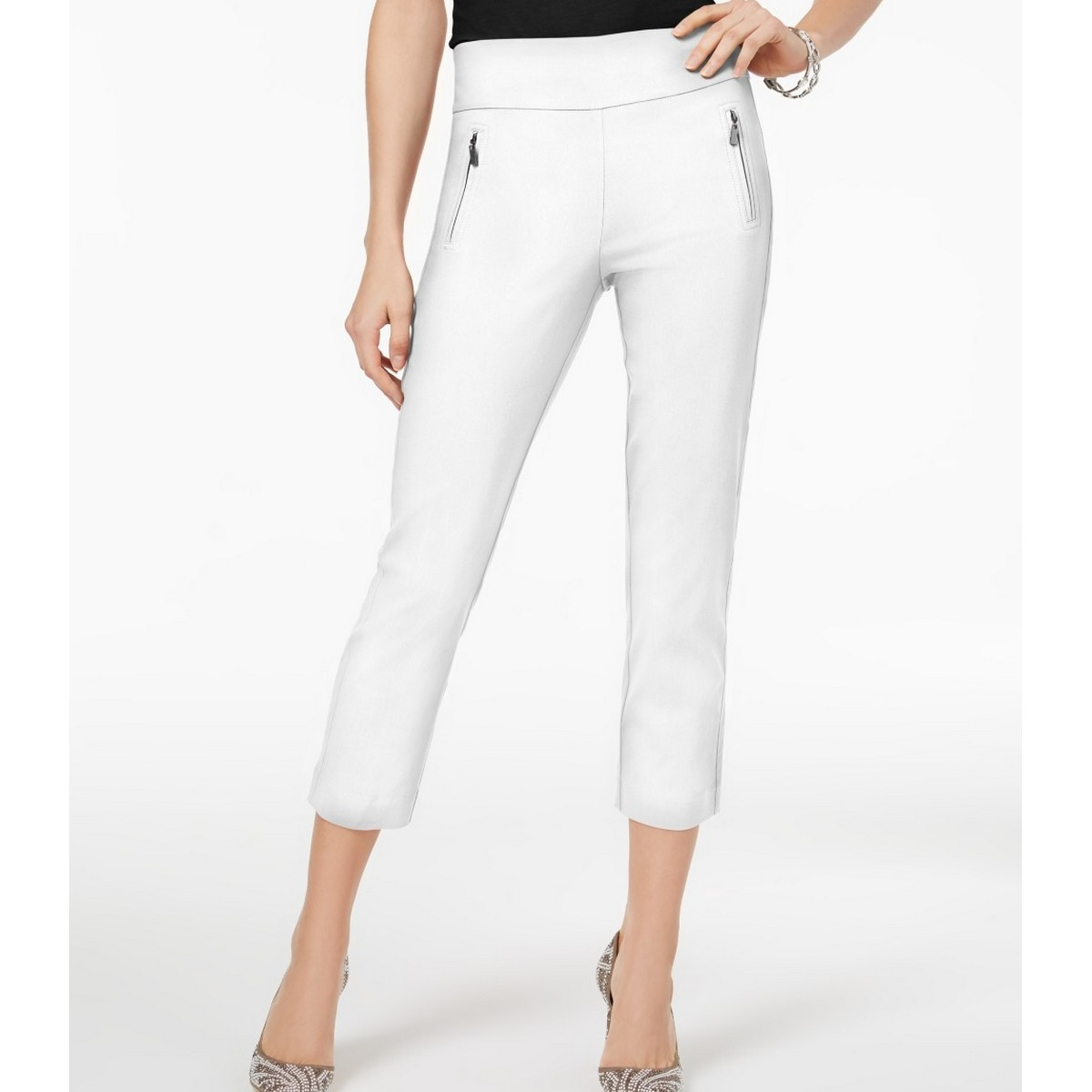 INC NEW Women's White Curvy Fit Pull On Zipper Pockets Cropp