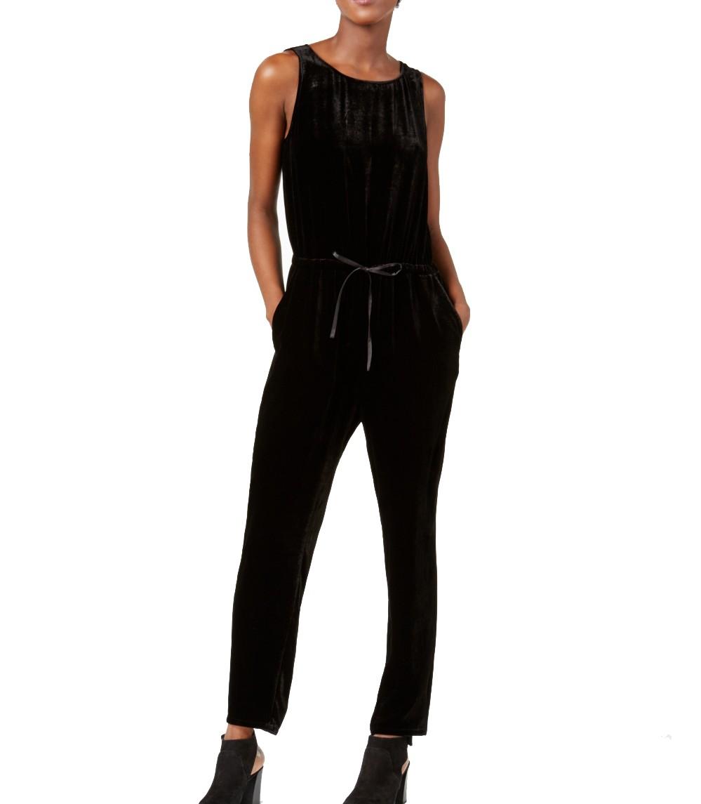 6b57b14bc0ba Detalles de Eileen Fisher Nuevo Mujer Negro sin Mangas Ancho Terciopelo  Mono XL Tedo