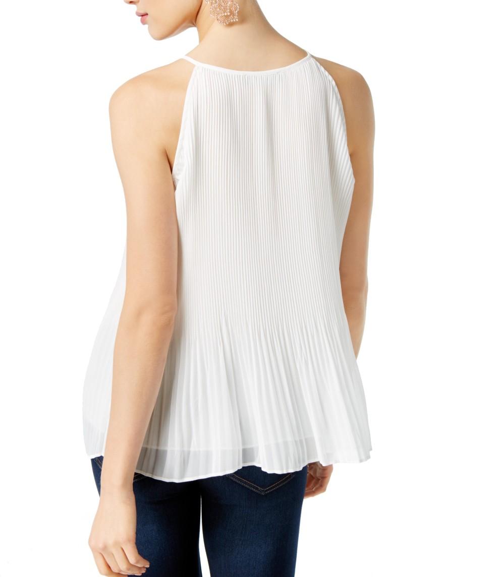 INC-NEW-Women-039-s-Pleated-Keyhole-Halter-Blouse-Shirt-Top-TEDO thumbnail 4