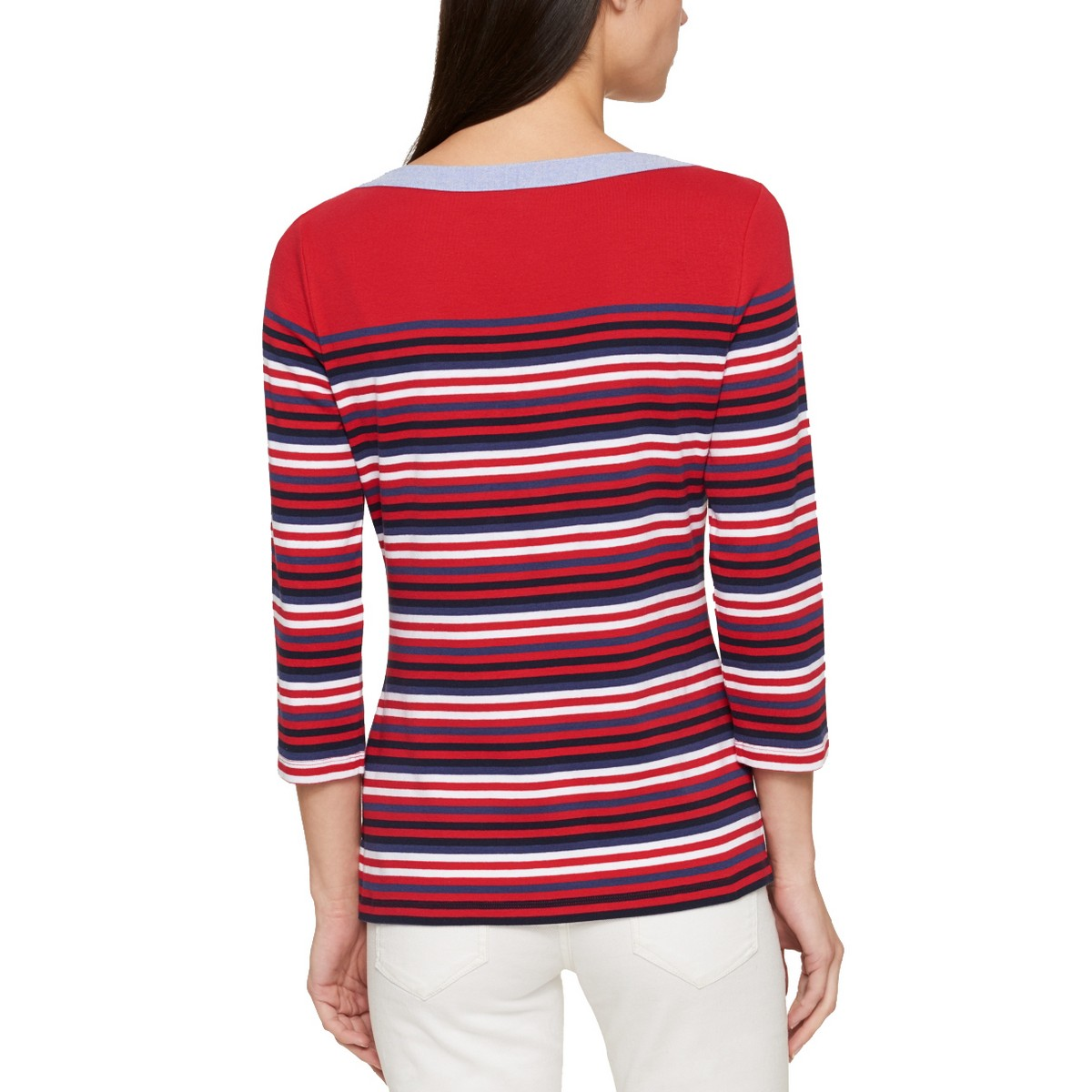 TOMMY-HILFIGER-NEW-Women-039-s-Cotton-Striped-Boat-Neck-Casual-Shirt-Top-TEDO thumbnail 6