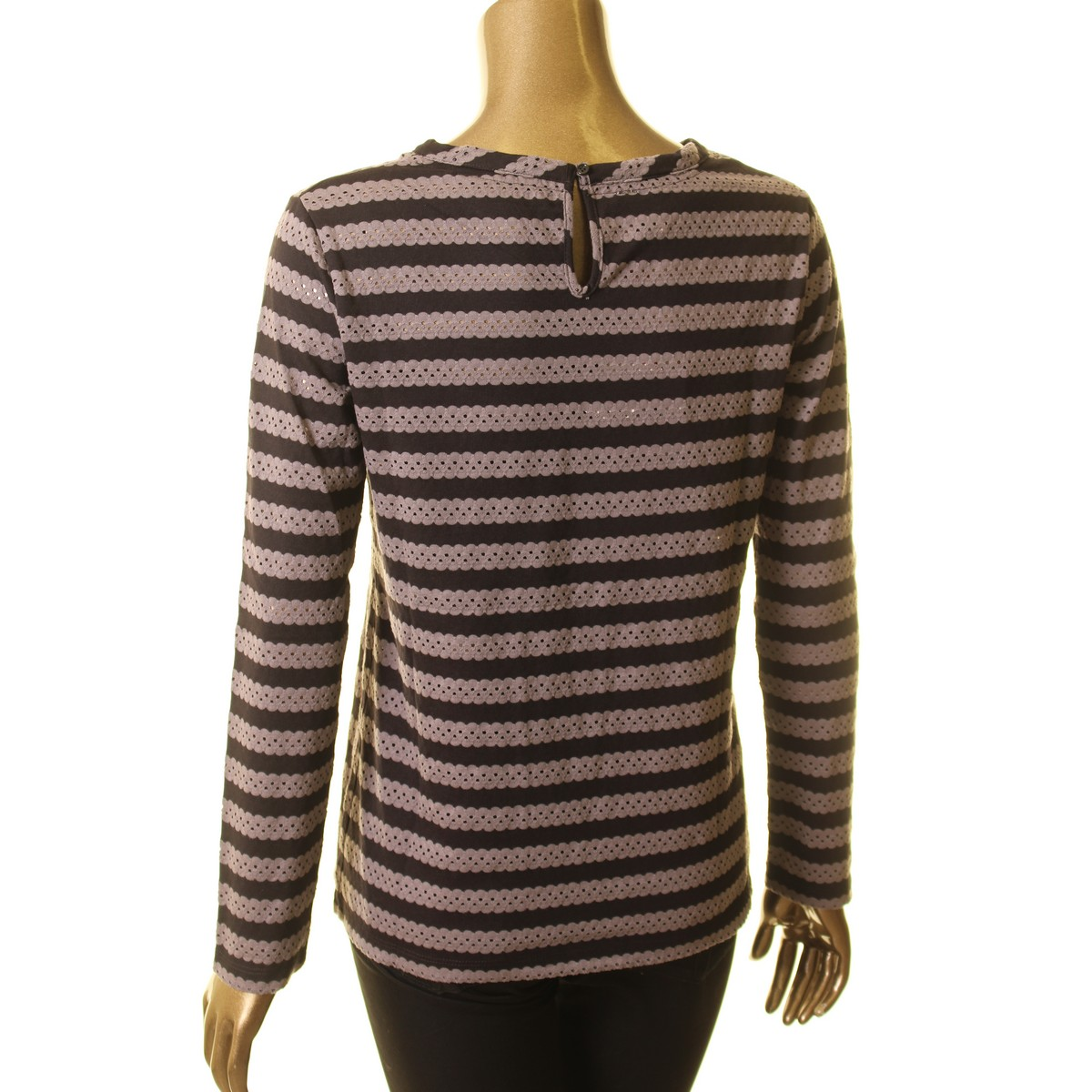 ANNE-KLEIN-NEW-Women-039-s-Eyelet-Striped-Casual-Shirt-Top-TEDO thumbnail 6