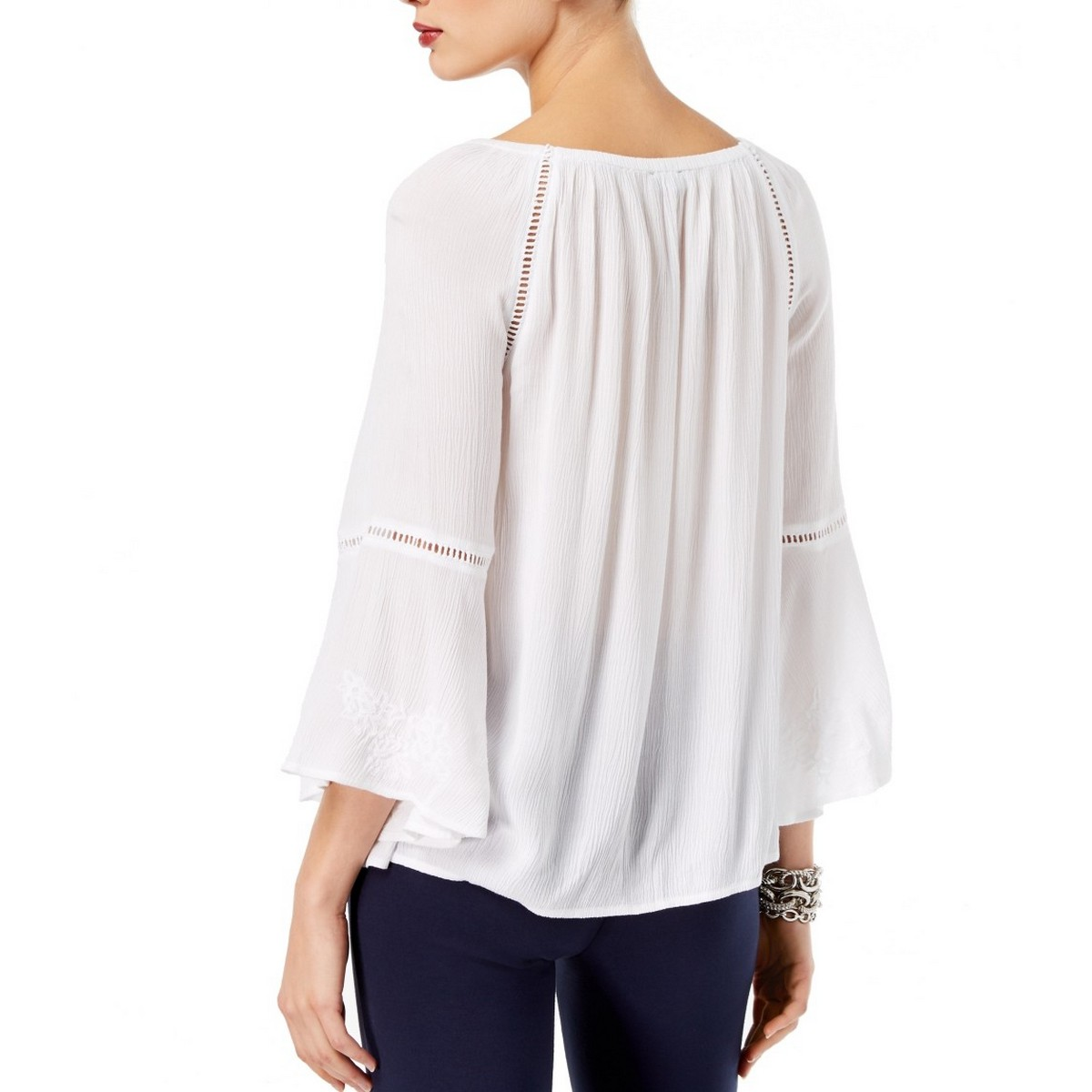 INC-NEW-Women-039-s-Embroidered-Bell-Sleeve-Blouse-Shirt-Top-TEDO thumbnail 6