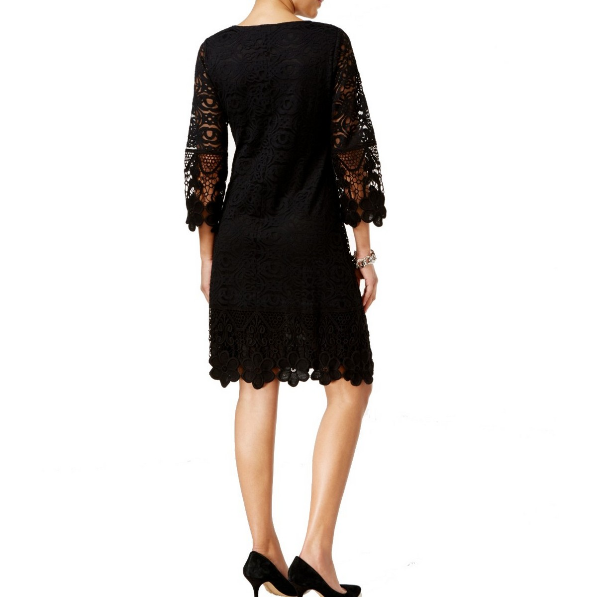 ALFANI NEW Women/'s Trumpet-sleeve Crochet Sheath Dress TEDO