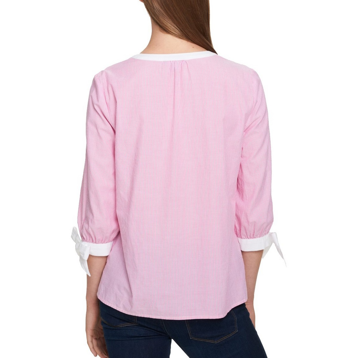 TOMMY-HILFIGER-NEW-Women-039-s-Pink-Striped-Tie-sleeve-V-Neck-Blouse-Shirt-Top-TEDO thumbnail 4