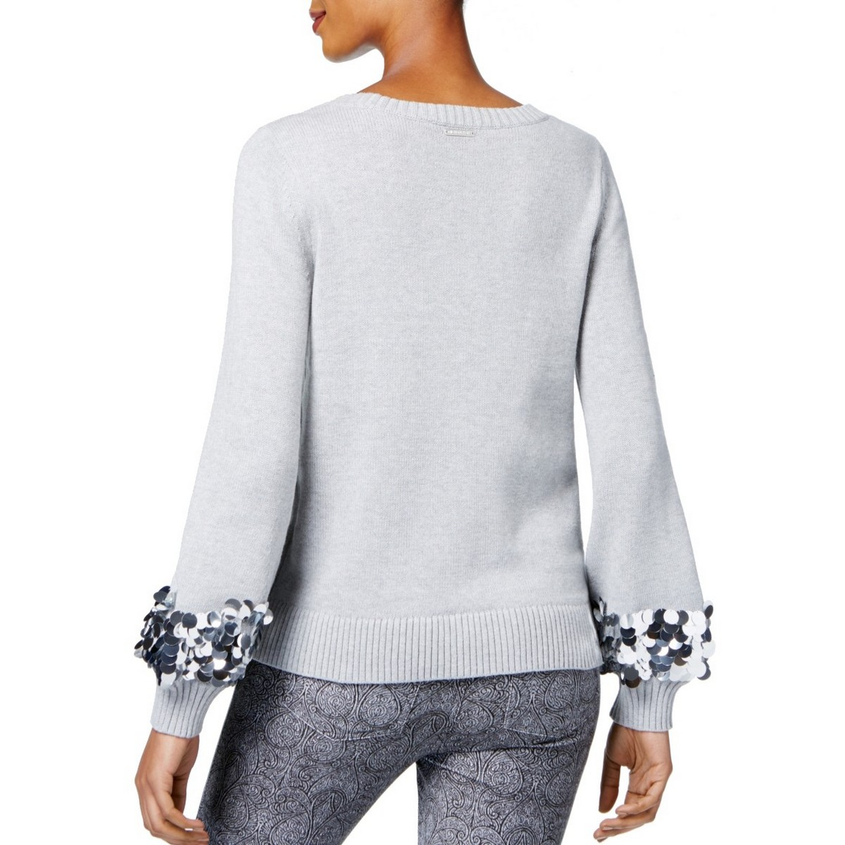 MICHAEL-KORS-NEW-Women-039-s-Cotton-Sequin-Cuff-Crewneck-Sweater-Top-TEDO thumbnail 6