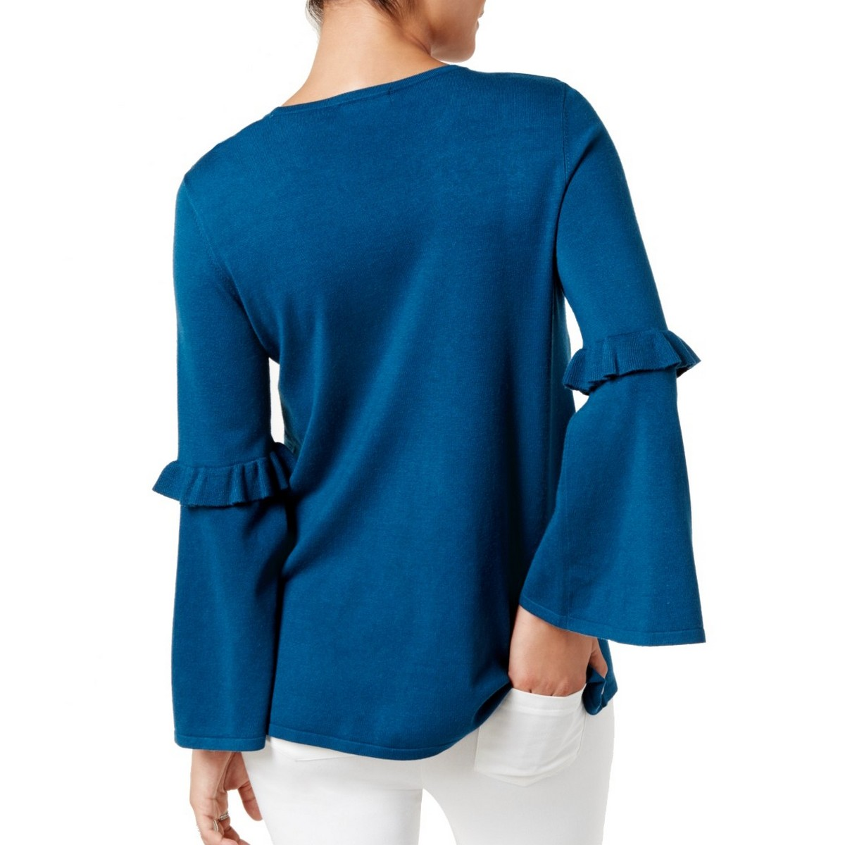 ALFANI-NEW-Women-039-s-Embroidered-Bell-Sleeves-Crewneck-Sweater-Top-TEDO thumbnail 4