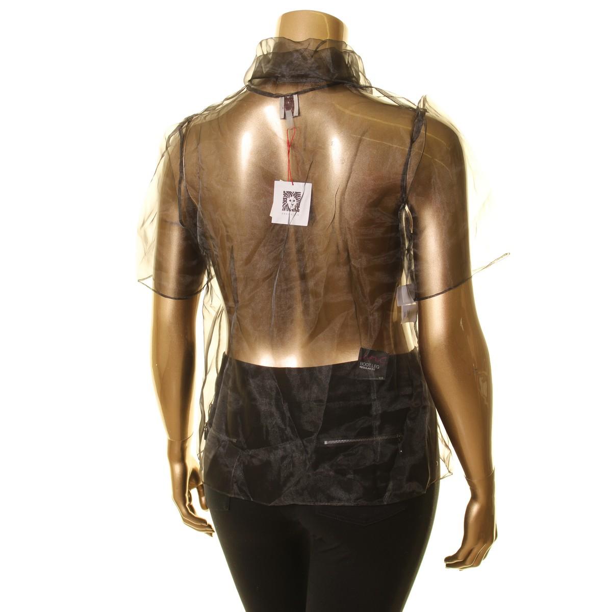 ANNE-KLEIN-NEW-Women-039-s-Short-Sleeve-Sheer-Tie-Neck-Blouse-Shirt-Top-TEDO thumbnail 4