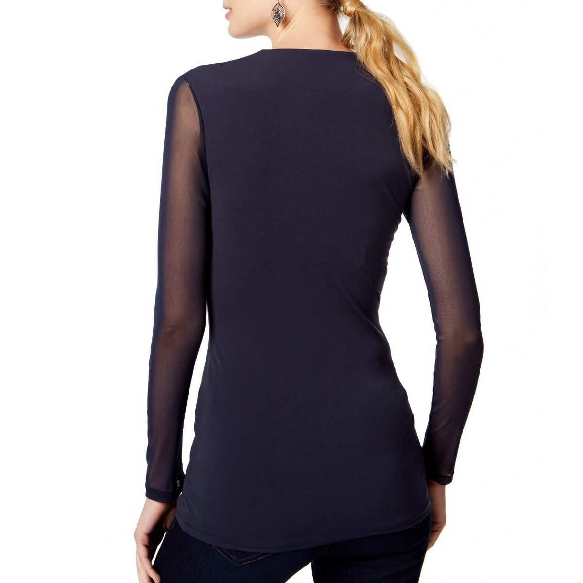 INC-NEW-Women-039-s-Illusion-Sleeve-V-Neck-Blouse-Shirt-Top-TEDO thumbnail 3