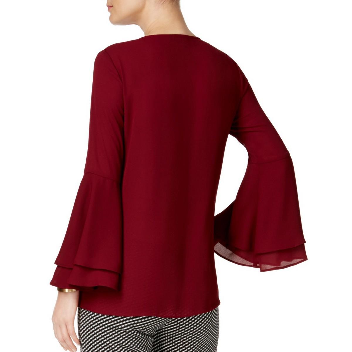 ALFANI-NEW-Women-039-s-V-neck-Bell-Sleeve-Blouse-Shirt-Top-TEDO thumbnail 6