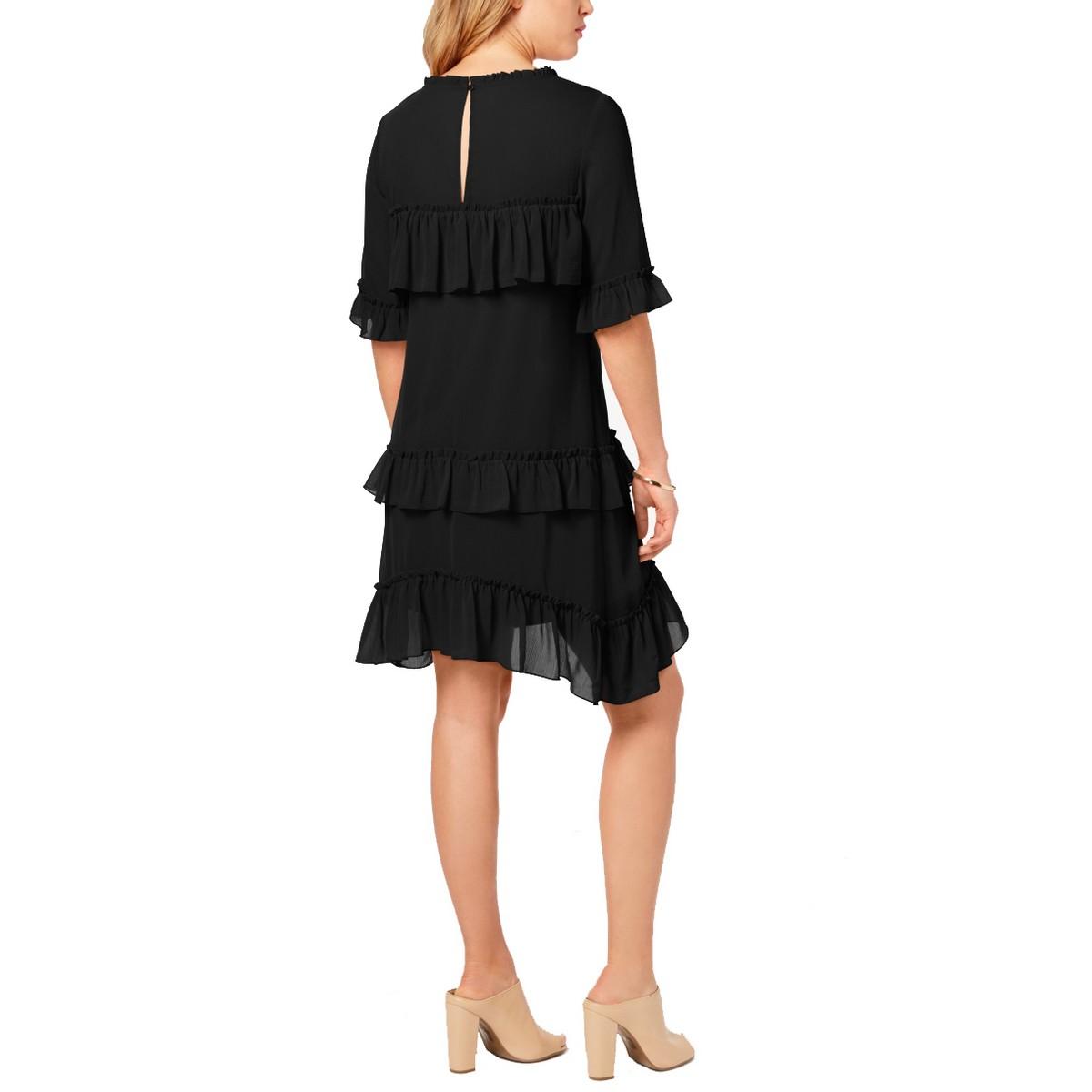 KENSIE-NEW-Women-039-s-Black-Ruffled-Chiffon-Fit-amp-Flare-Dress-TEDO thumbnail 4