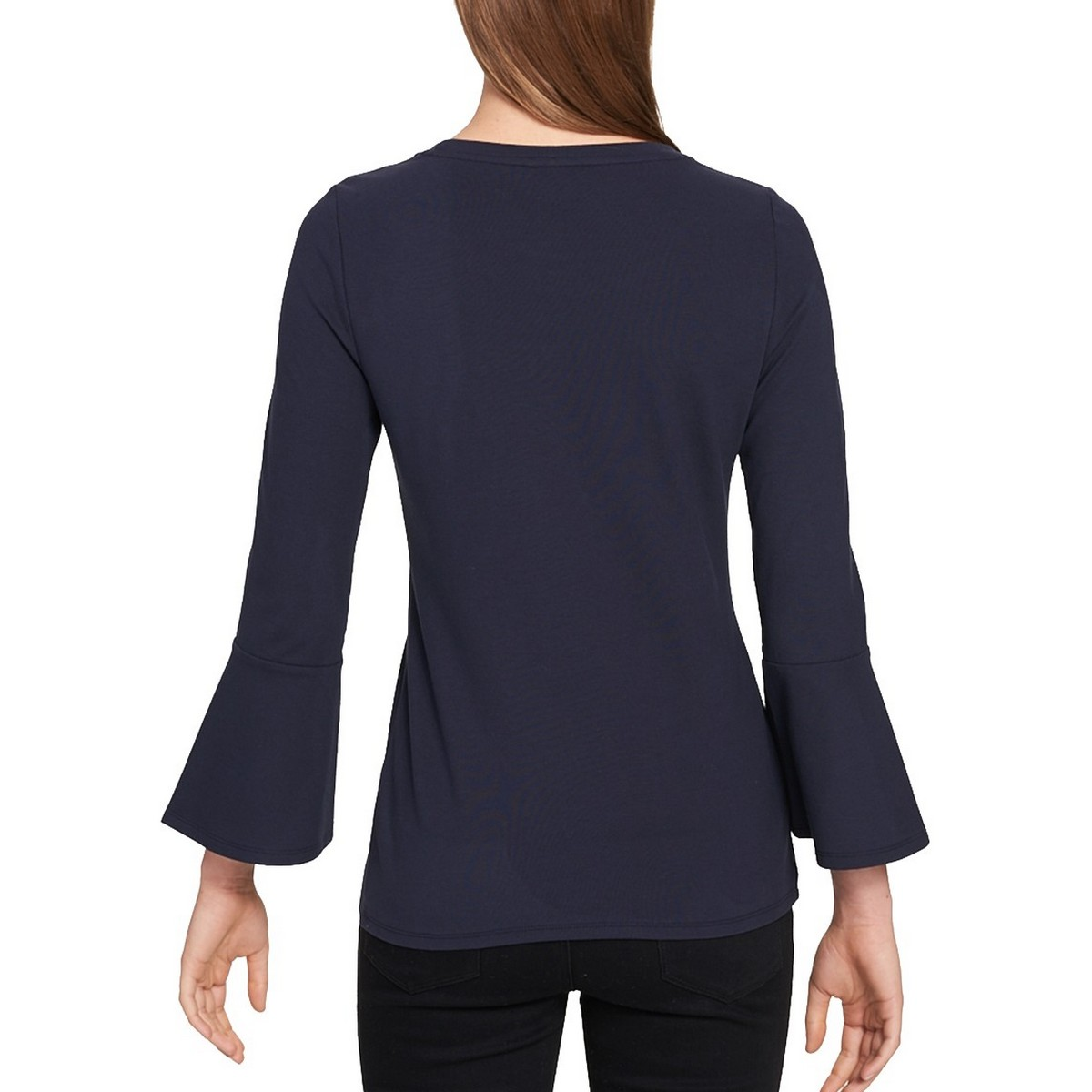TOMMY-HILFIGER-NEW-Women-039-s-Embellished-Logo-Bell-sleeve-Casual-Shirt-Top-TEDO thumbnail 4