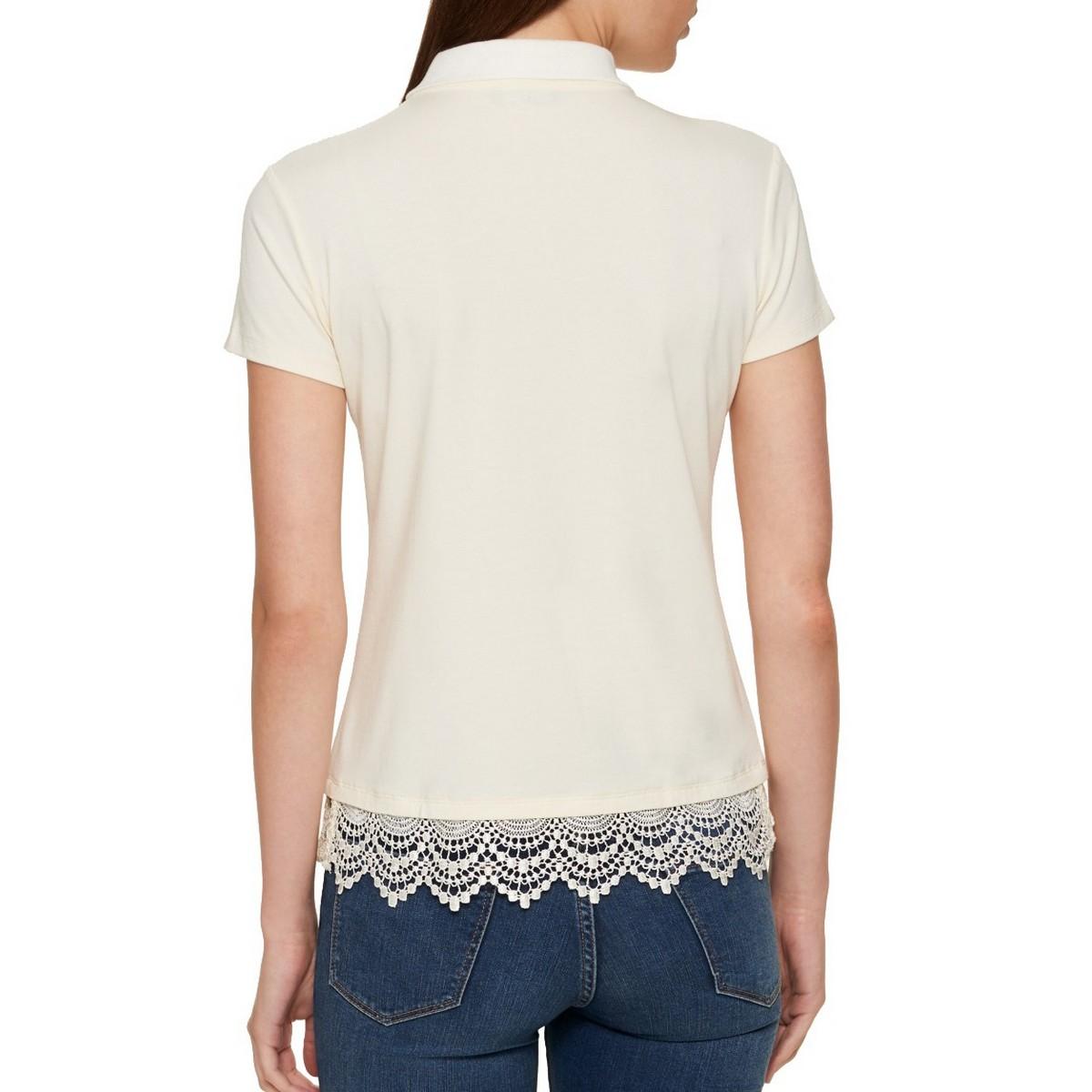 TOMMY-HILFIGER-NEW-Women-039-s-Lace-Trim-Polo-Shirt-Top-TEDO thumbnail 7