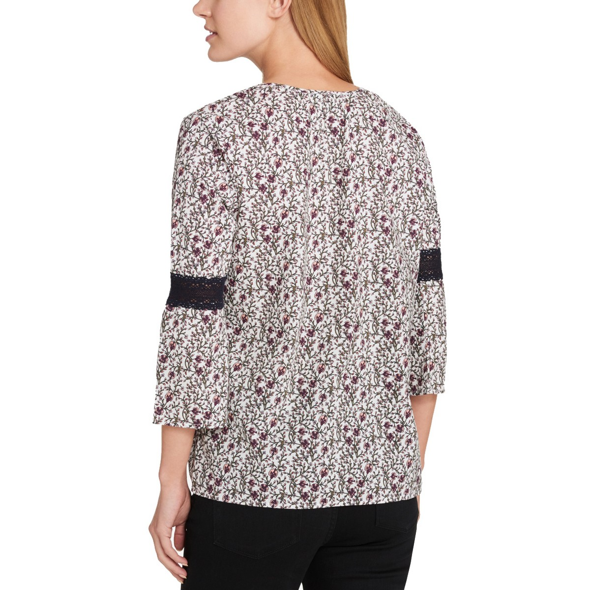 TOMMY-HILFIGER-NEW-Women-039-s-Lace-Detail-Printed-Blouse-Shirt-Top-TEDO thumbnail 5