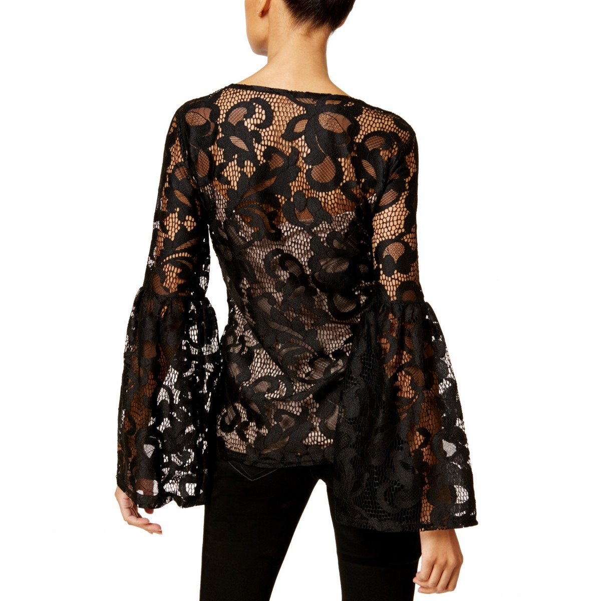 INC-NEW-Women-039-s-Lace-Bell-Sleeve-Scoop-Neck-Blouse-Shirt-Top-TEDO thumbnail 3