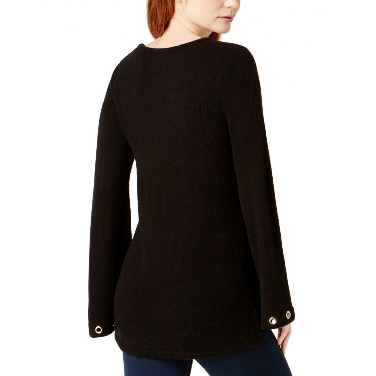 KENSIE-NEW-Women-039-s-Grommet-Bell-Sleeve-Crewneck-Sweater-Top-TEDO thumbnail 4