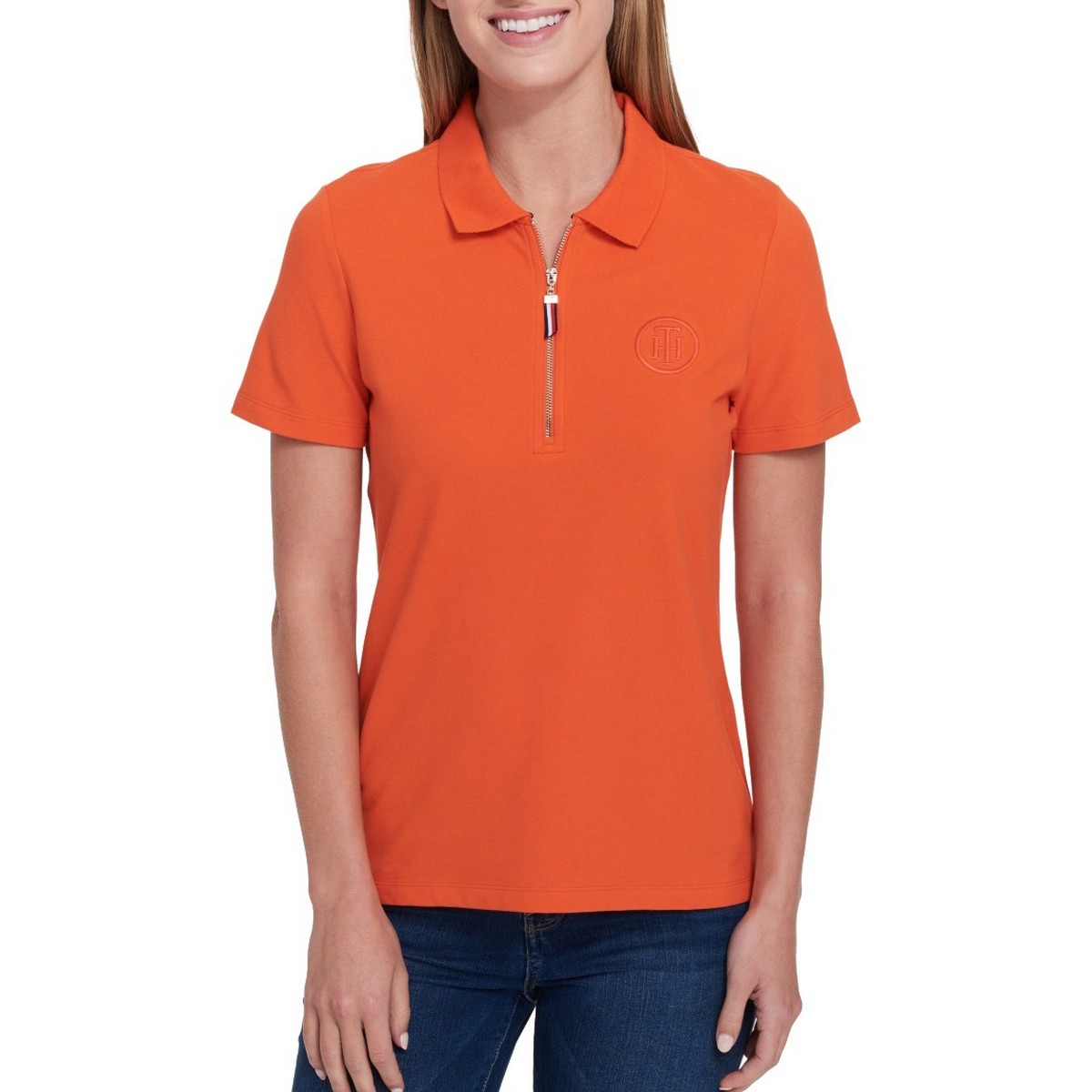 38189827 Details about TOMMY HILFIGER NEW Women's Short Sleeve 1/2 Zip Polo Shirt Top  TEDO