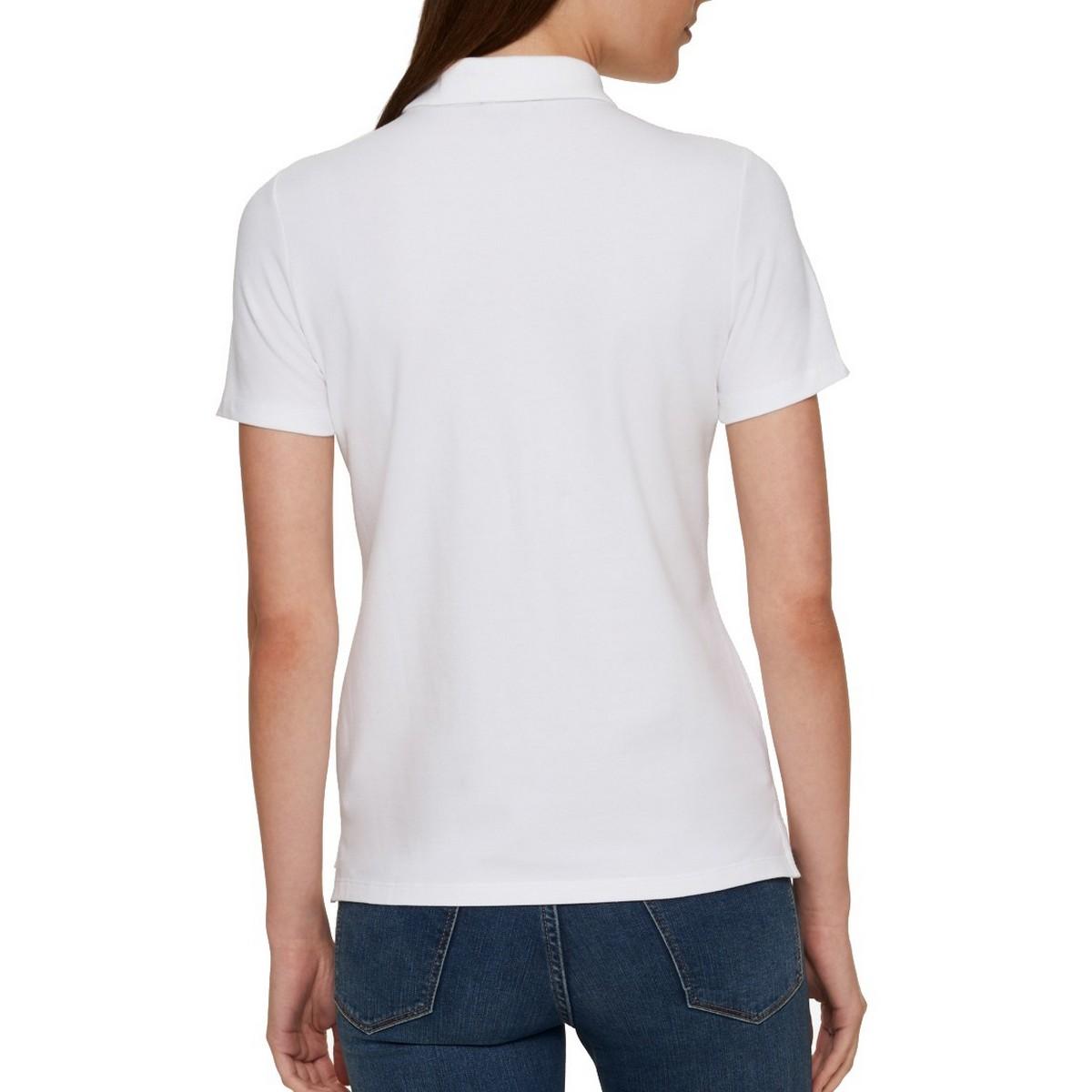 TOMMY-HILFIGER-NEW-Women-039-s-Short-Sleeve-1-2-Zip-Polo-Shirt-Top-TEDO thumbnail 4