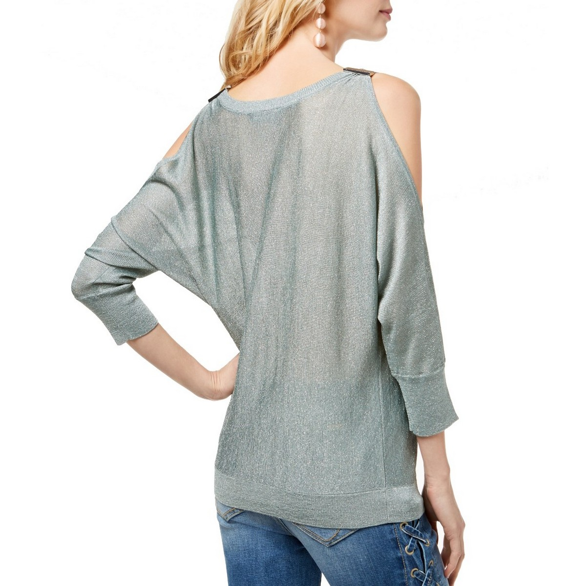 INC-NEW-Women-039-s-Metallic-Cold-Shoulder-Scoop-Neck-Knit-Shirt-Top-TEDO thumbnail 3