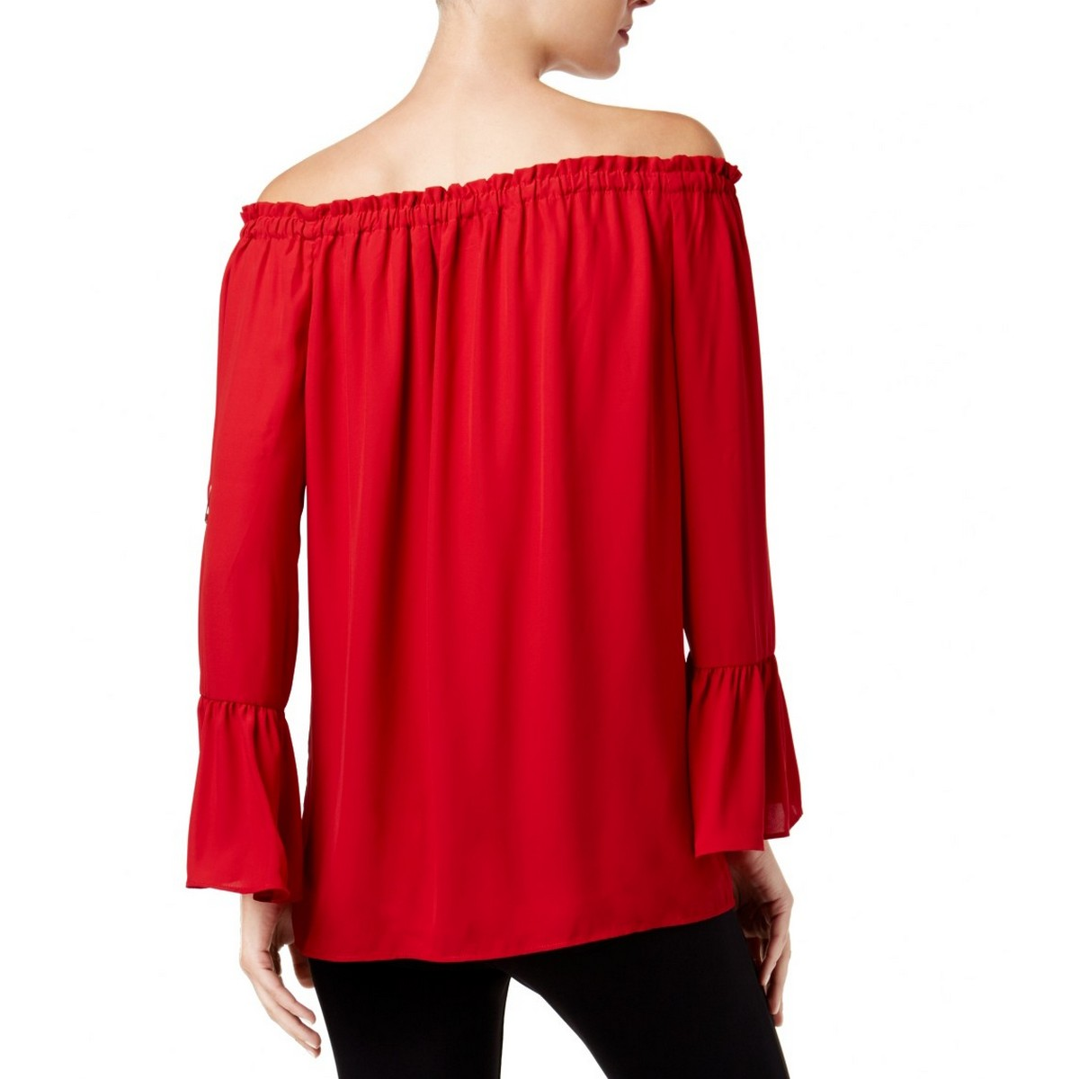 ALFANI-NEW-Women-039-s-Off-the-shoulder-Bell-sleeve-Blouse-Shirt-Top-TEDO thumbnail 6