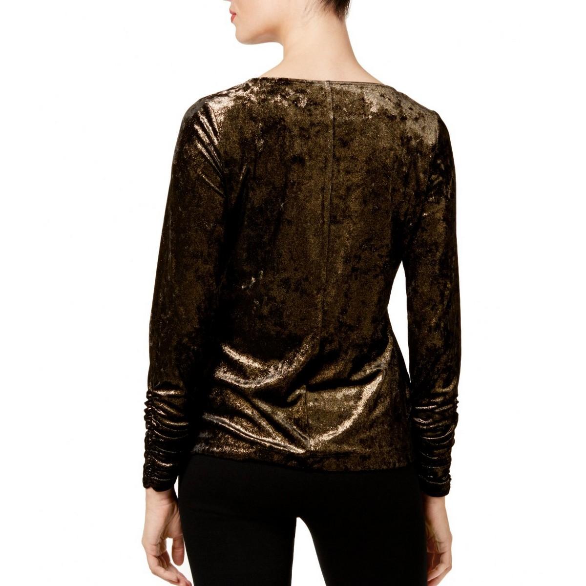 VINCE-CAMUTO-NEW-Women-039-s-Velvet-Metallic-Blouse-Shirt-Top-TEDO thumbnail 4