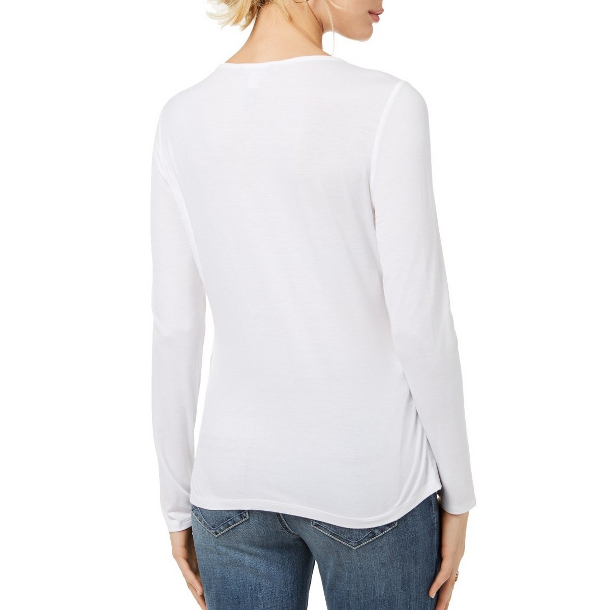 INC-NEW-Women-039-s-Bow-Front-Mixed-Media-Blouse-Shirt-Top-TEDO thumbnail 3