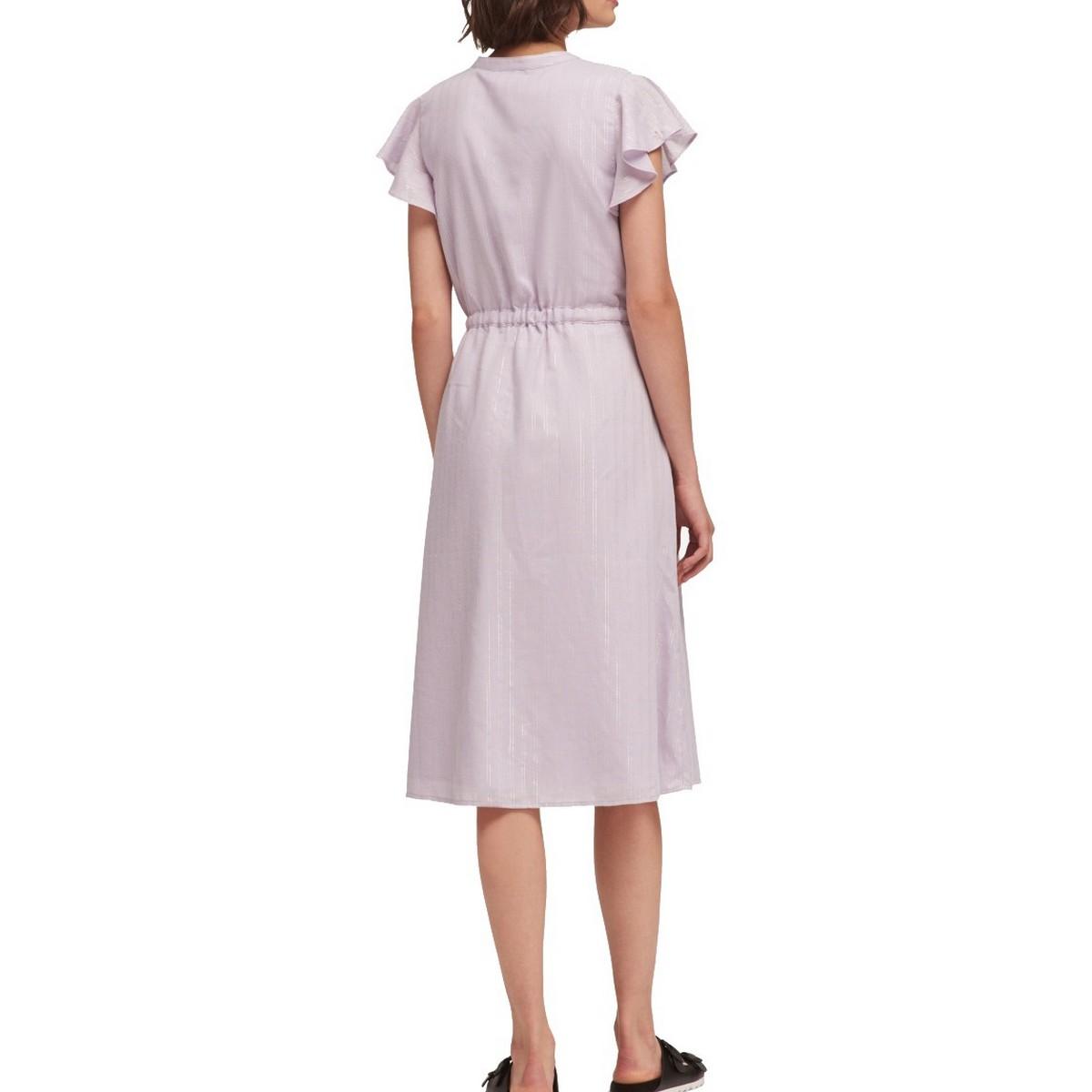 DKNY-NEW-Women-039-s-Shimmer-Stripe-Flutter-sleeve-Drawstring-Waist-Dress-TEDO thumbnail 6