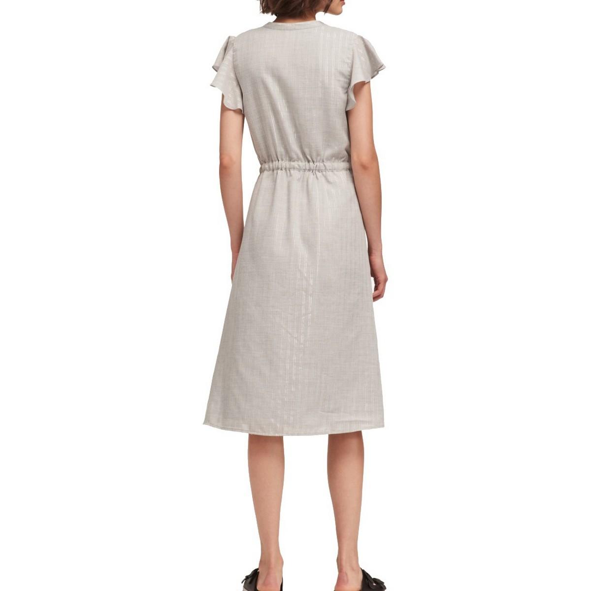 DKNY-NEW-Women-039-s-Shimmer-Stripe-Flutter-sleeve-Drawstring-Waist-Dress-TEDO thumbnail 4