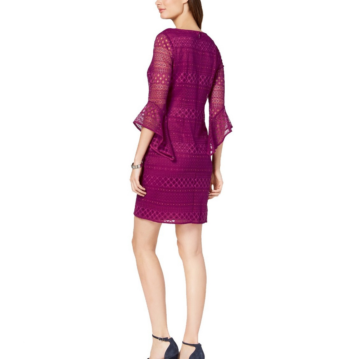 ALFANI-NEW-Women-039-s-Lace-3-4-Bell-sleeve-V-Neck-Sheath-Dress-TEDO thumbnail 5