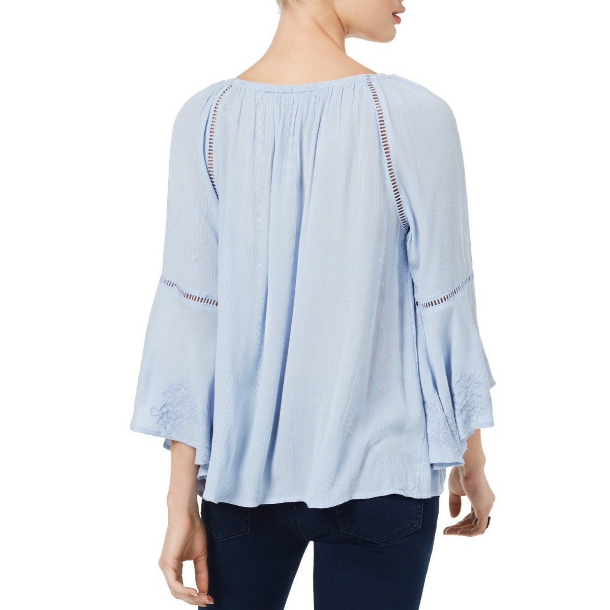 INC-NEW-Women-039-s-Embroidered-Bell-Sleeve-Blouse-Shirt-Top-TEDO thumbnail 4