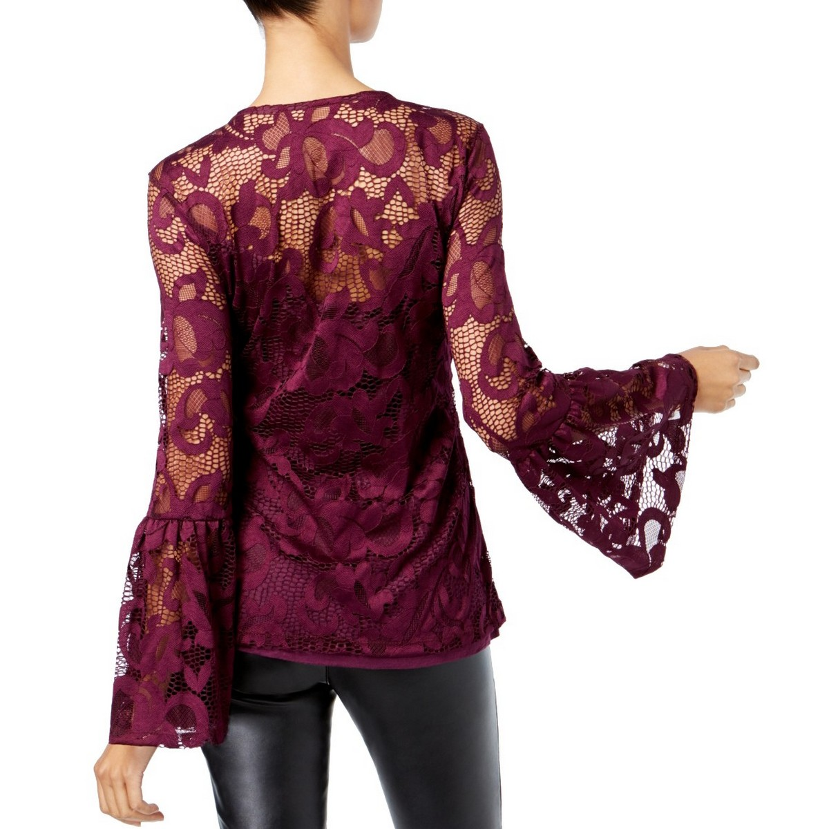 INC-NEW-Women-039-s-Lace-Bell-Sleeve-Scoop-Neck-Blouse-Shirt-Top-TEDO thumbnail 5