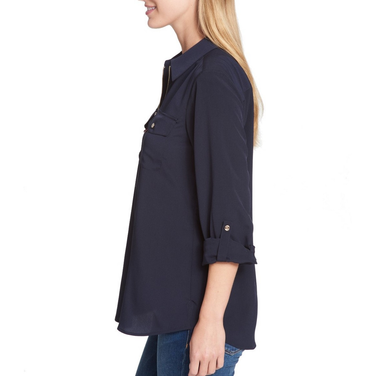 TOMMY-HILFIGER-NEW-Women-039-s-1-2-Zip-Utility-Casual-Shirt-Top-TEDO thumbnail 3