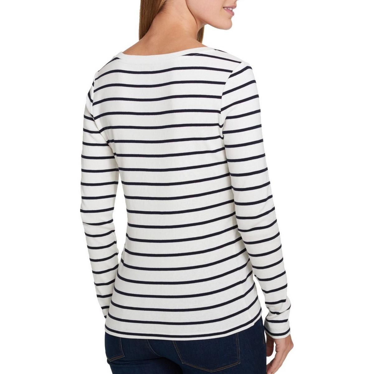 TOMMY-HILFIGER-NEW-Women-039-s-Cotton-Striped-Scoop-Neck-T-shirt-Top-TEDO thumbnail 3