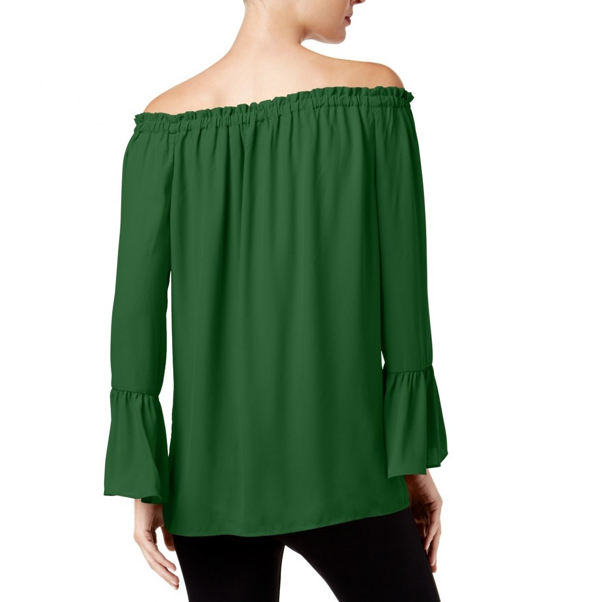 ALFANI-NEW-Women-039-s-Off-the-shoulder-Bell-sleeve-Blouse-Shirt-Top-TEDO thumbnail 4