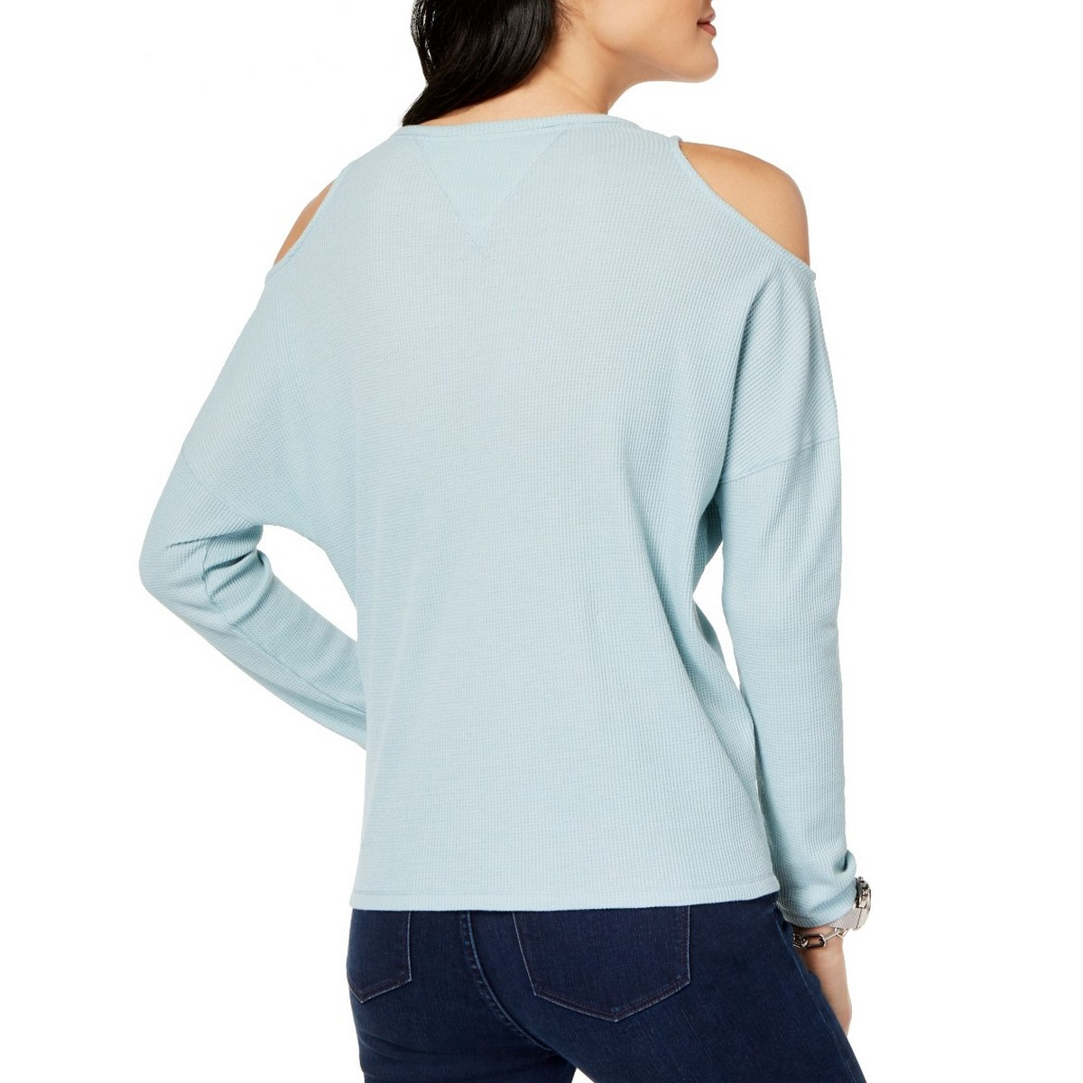 TOMMY-HILFIGER-NEW-Women-039-s-Cold-Shoulder-Waffle-Knit-Casual-Shirt-Top-TEDO thumbnail 6