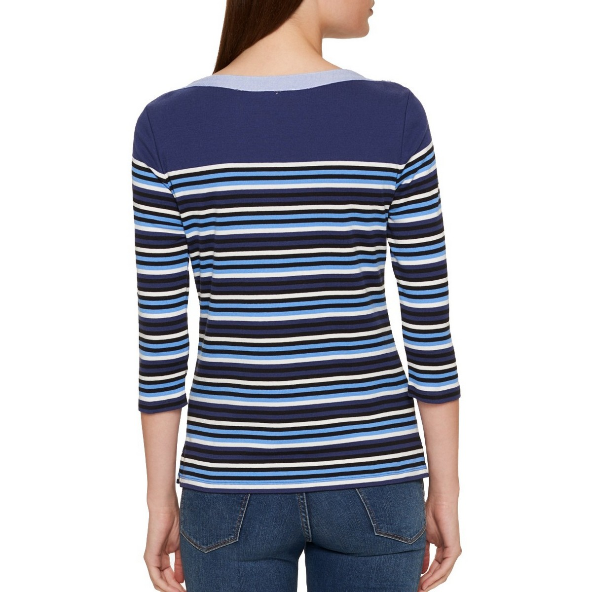 TOMMY-HILFIGER-NEW-Women-039-s-Cotton-Striped-Boat-Neck-Casual-Shirt-Top-TEDO thumbnail 4