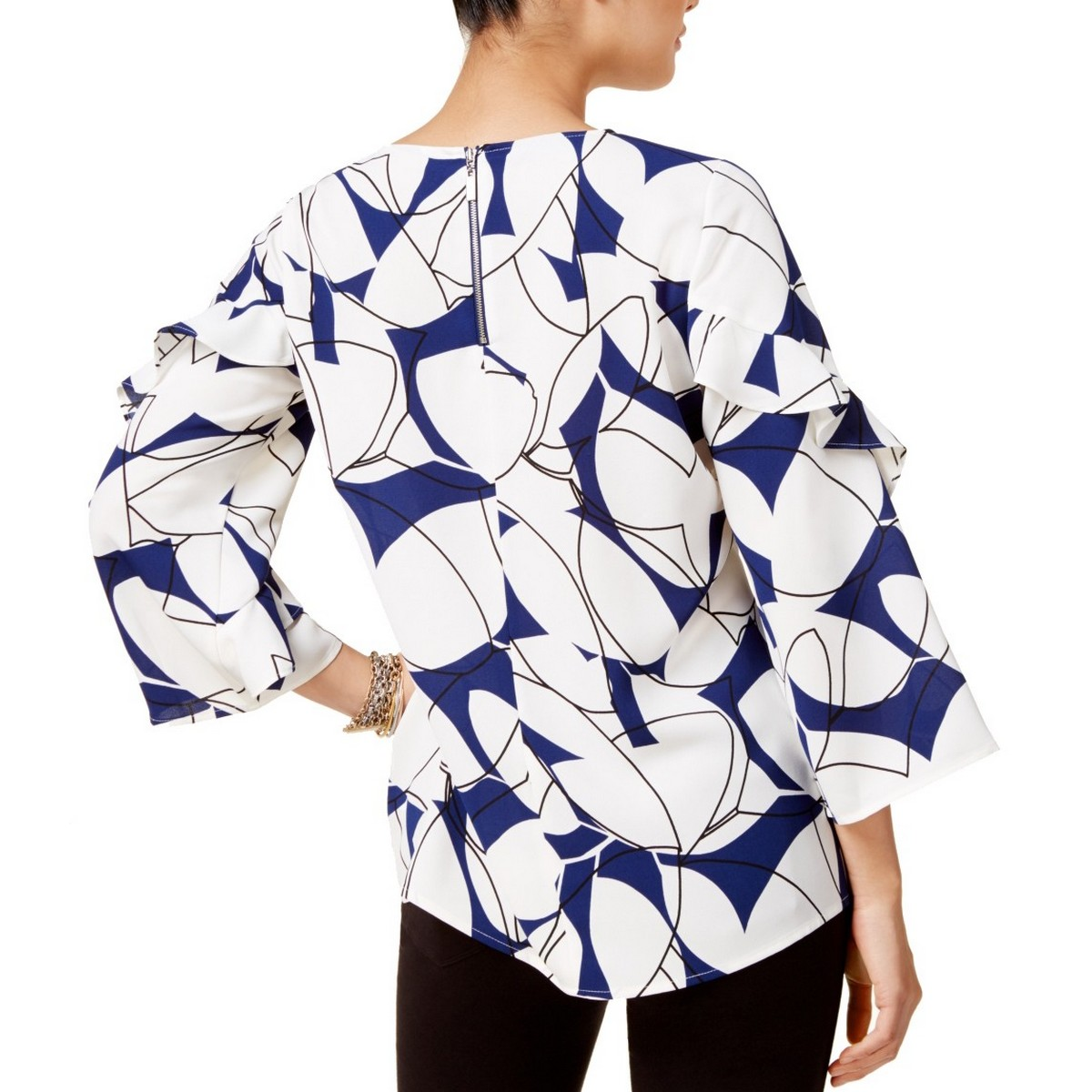 ALFANI-NEW-Women-039-s-3-4-Ruffle-Sleeve-Back-Zipper-Blouse-Shirt-Top-TEDO thumbnail 3