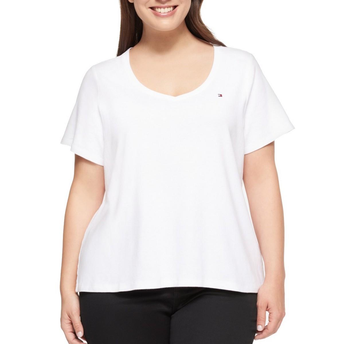 TOMMY-HILFIGER-NEW-Women-039-s-Plus-Size-Cotton-Logo-Print-Casual-Shirt-Top-TEDO