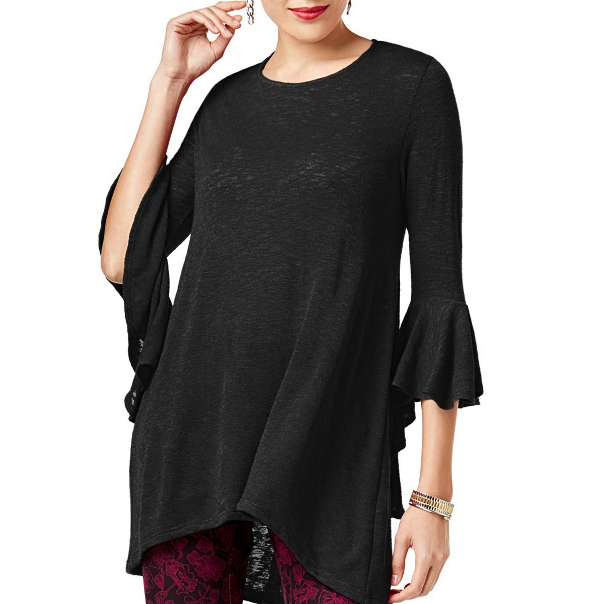 ALFANI-NEW-Women-039-s-High-low-Bell-sleeve-Knit-Tunic-Shirt-Top-TEDO thumbnail 2