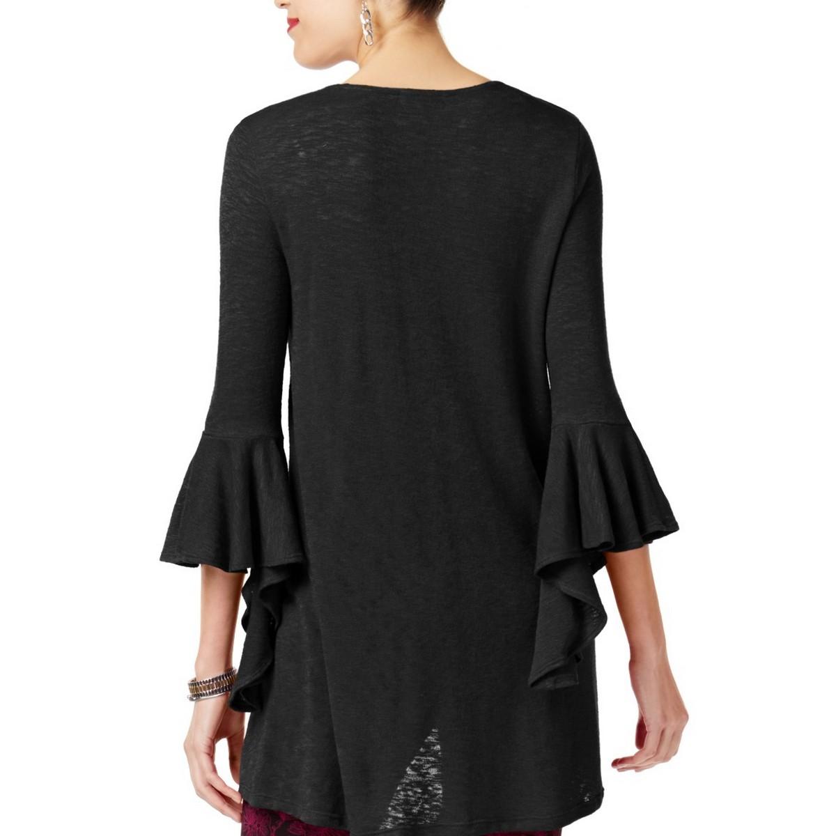 ALFANI-NEW-Women-039-s-High-low-Bell-sleeve-Knit-Tunic-Shirt-Top-TEDO thumbnail 3