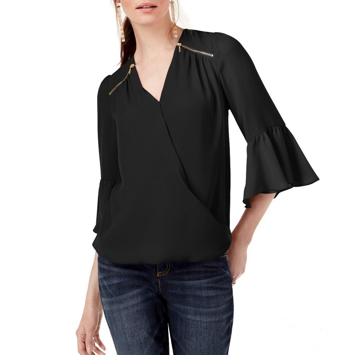 INC NEW Women's Black Zip-detail Surplice Bell Sleeves Blous