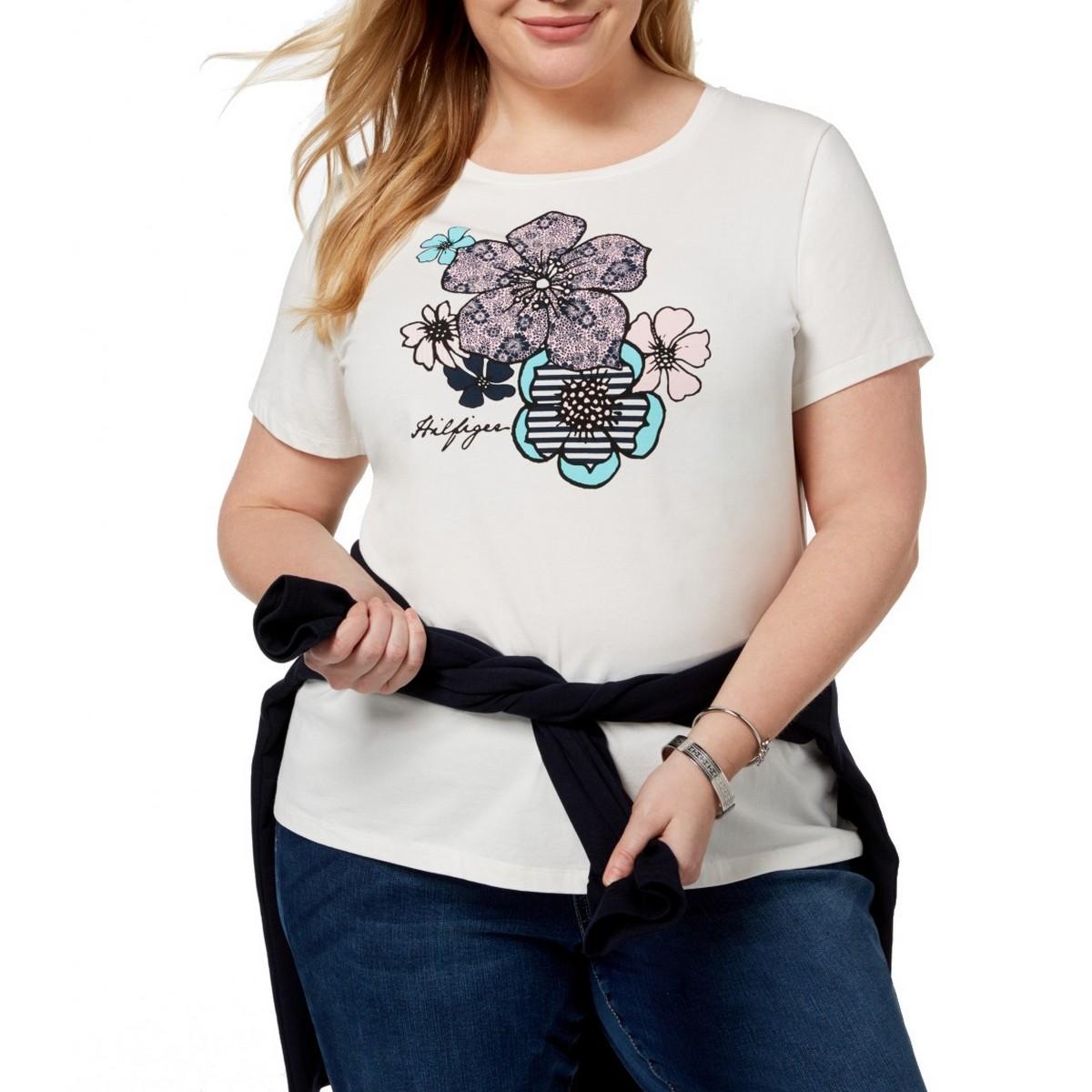 fc7de76a Details about TOMMY HILFIGER NEW Women's Ivory Plus Size Floral Print  Casual Shirt Top 2X TEDO