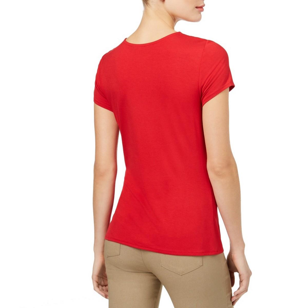 INC-NEW-Women-039-s-Short-Sleeve-Twist-front-Cutout-Casual-Shirt-Top-TEDO thumbnail 4