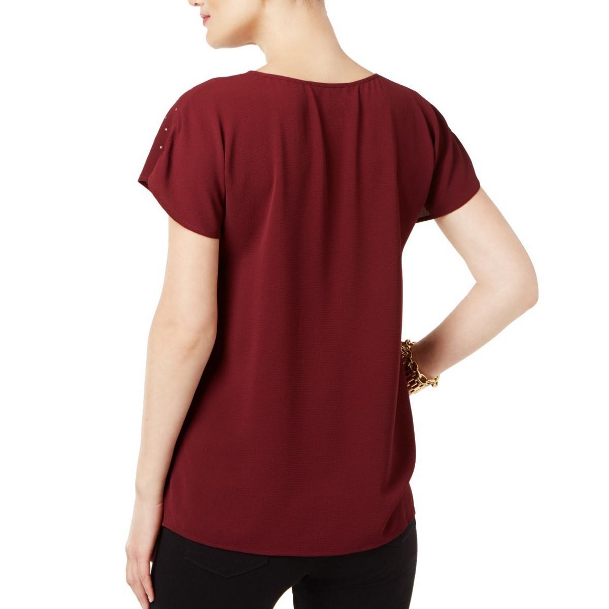 MICHAEL-KORS-NEW-Women-039-s-Petite-Star-embellished-Blouse-Shirt-Top-TEDO thumbnail 4
