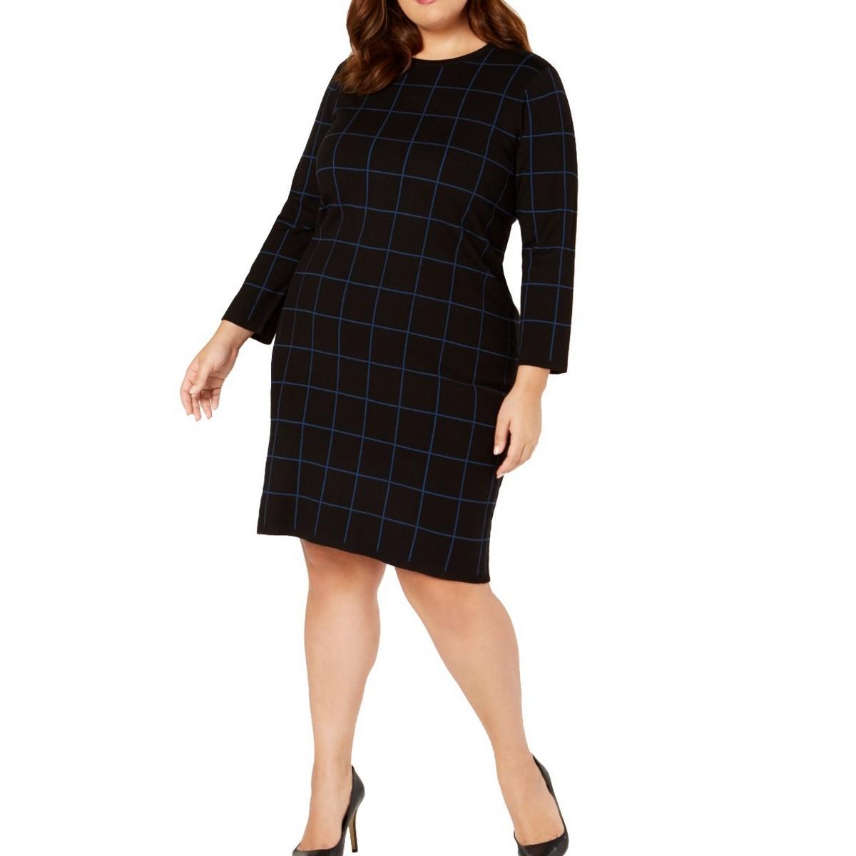 Details about ANNE KLEIN NEW Women\'s Plus Size Long Sleeve Sheath Sweater  Dress TEDO