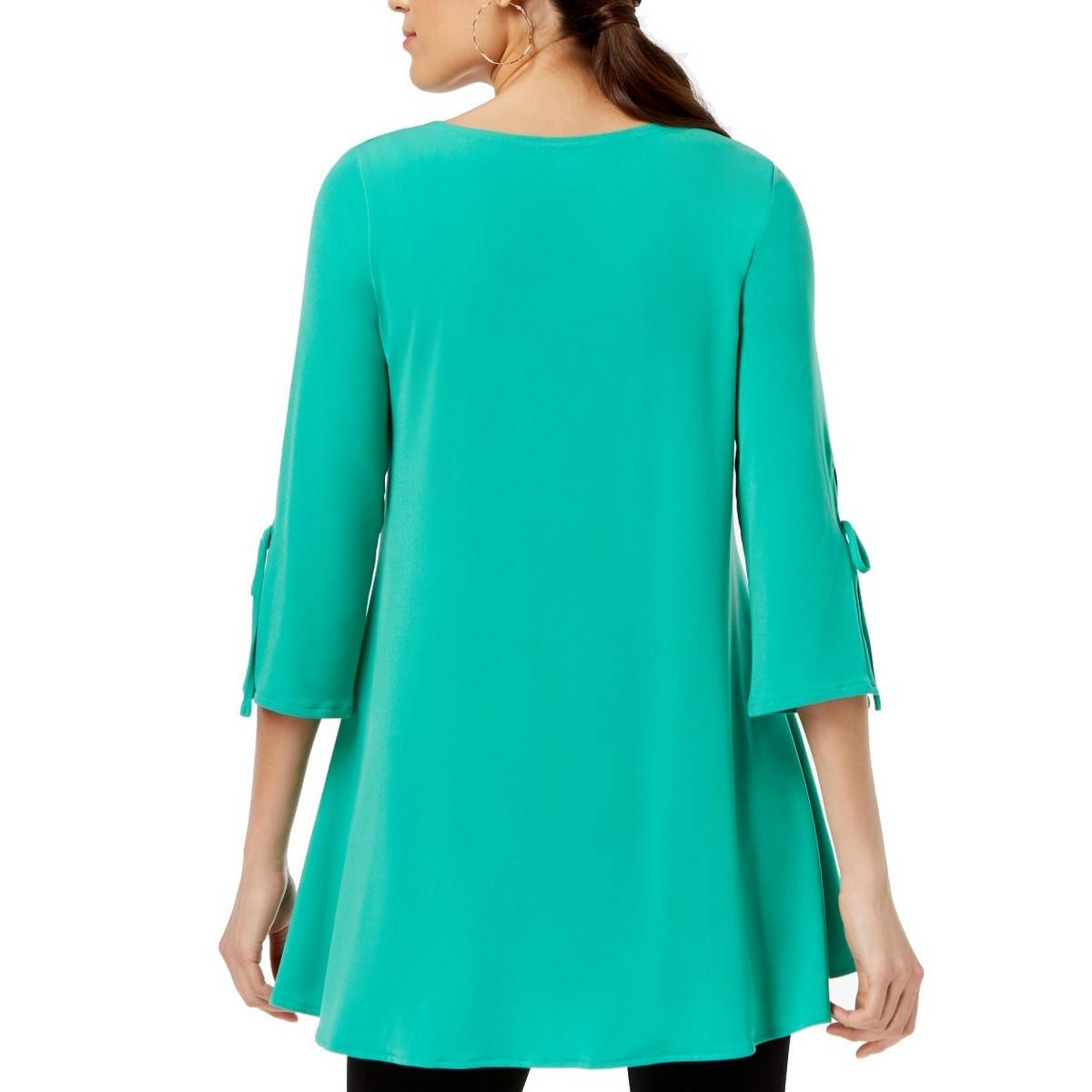 ALFANI-NEW-Women-039-s-Asymmetrical-Tie-sleeve-Swing-Blouse-Shirt-Top-TEDO thumbnail 4