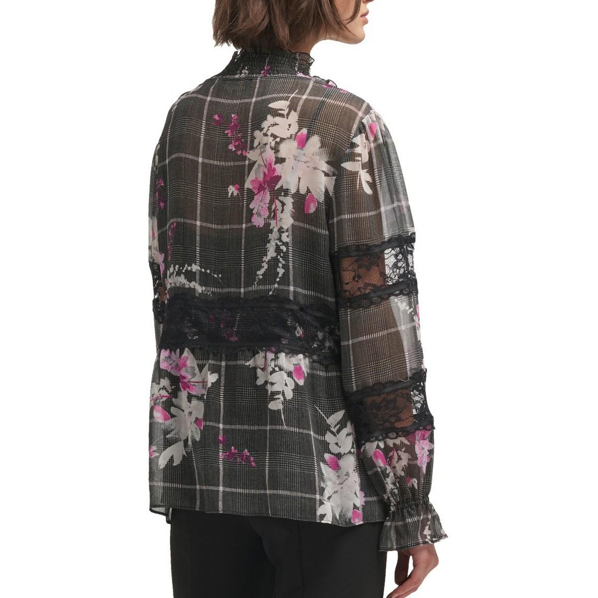 DKNY-NEW-Women-039-s-Lace-trim-Printed-Sheer-Blouse-Shirt-Top-TEDO thumbnail 4