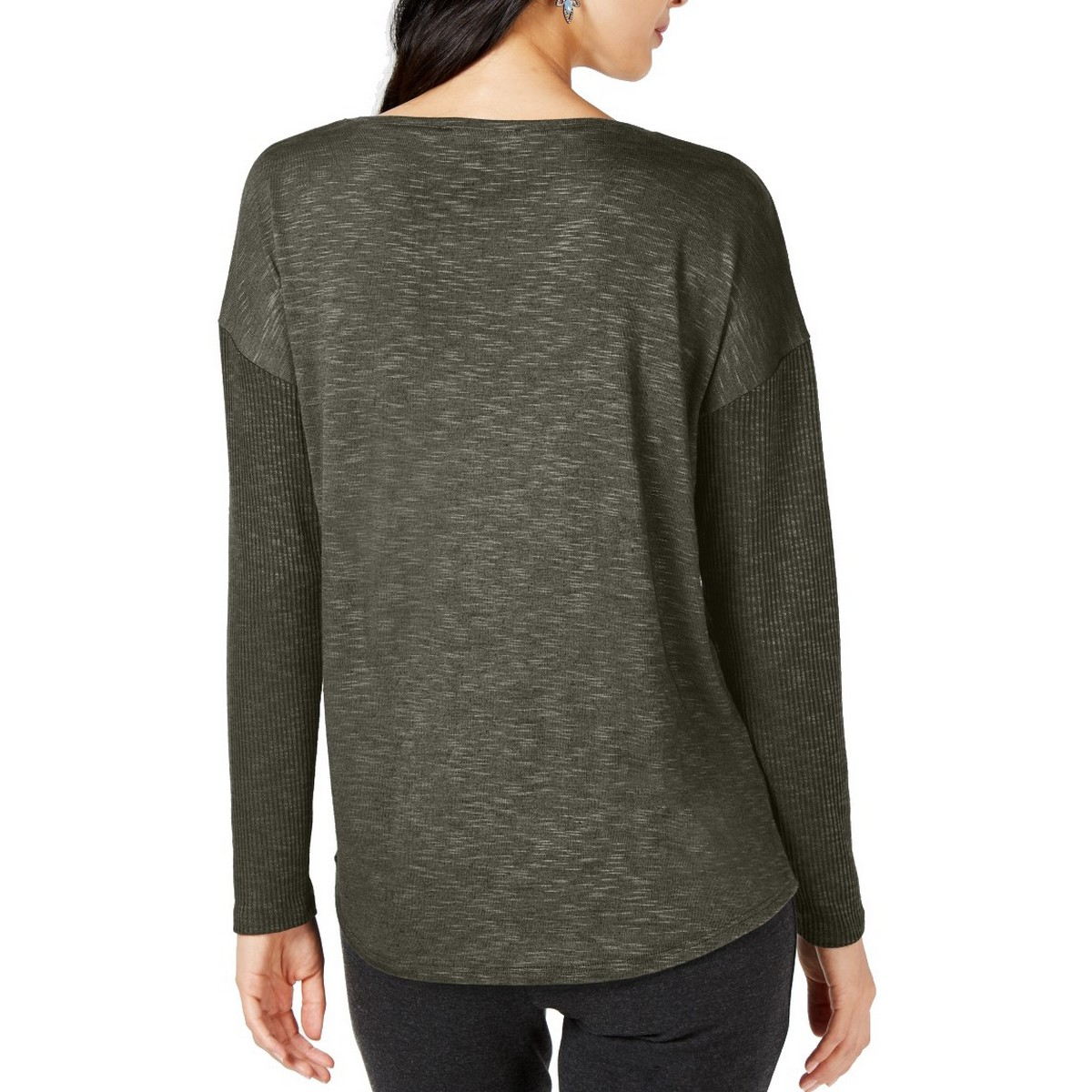 INC-NEW-Women-039-s-Long-Sleeve-Mixed-media-Knit-Casual-Shirt-Top-TEDO thumbnail 6