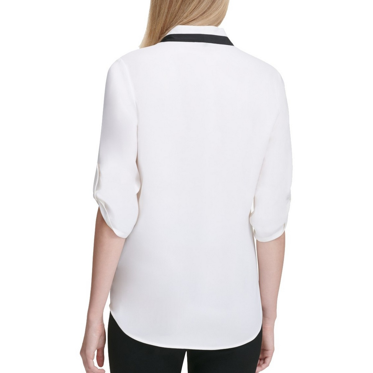 CALVIN-KLEIN-NEW-Women-039-s-Contrast-neck-Roll-tab-sleeve-Blouse-Shirt-Top-TEDO thumbnail 5