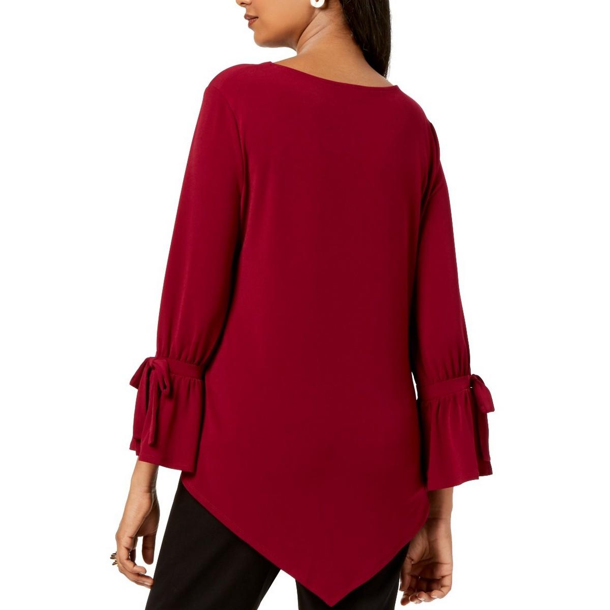 ALFANI-NEW-Women-039-s-Handkerchief-hem-Tie-Sleeve-Blouse-Shirt-Top-TEDO thumbnail 4